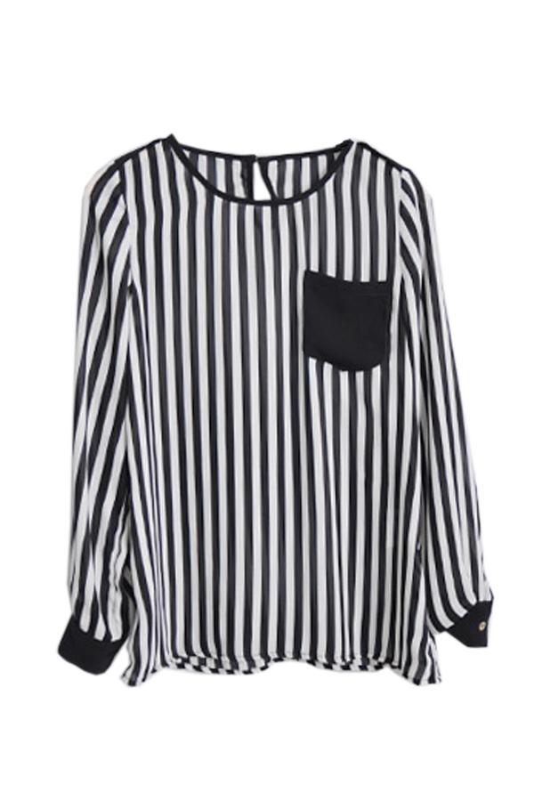 Black-And-White-Striped-কালো টি-শার্ট
